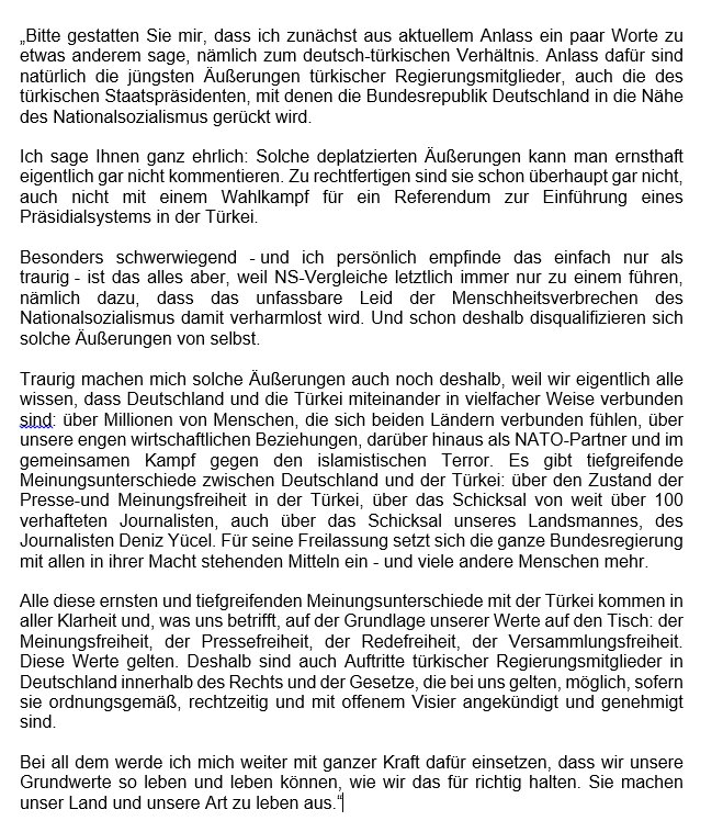 Kanzlerin #Merkel zu den Äußerungen des türkischen Staatspräsidenten Erdoğan.