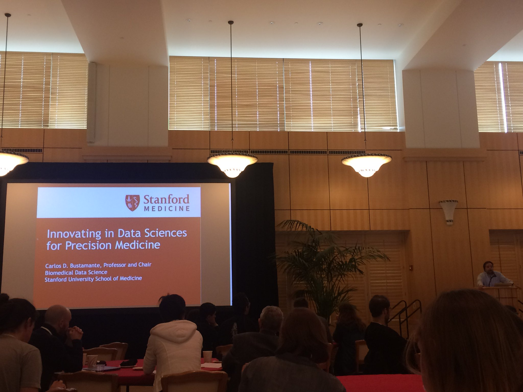 @StanfordCEHG Dr. Bustamante is giving the first talk about using data sciences for precision medicine! #CEHG17 https://t.co/d8TqNB1NZt