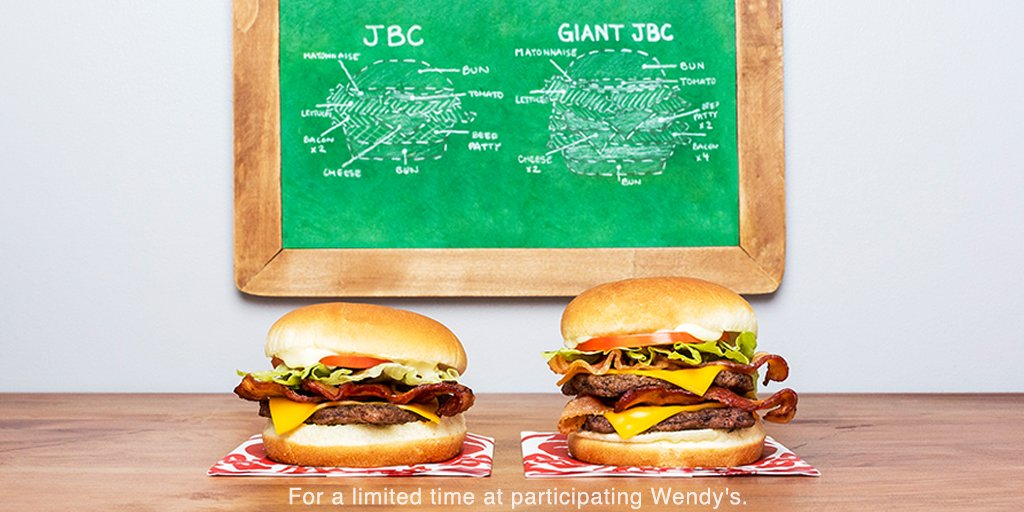 Wendy S On Twitter The Giant Jr Bacon Cheeseburger Is Bigger Than Ever With Double The Beef Bacon And Cheese Only 2 99 At Participating Raleigh Locations Https T Co Bds9pcnrop