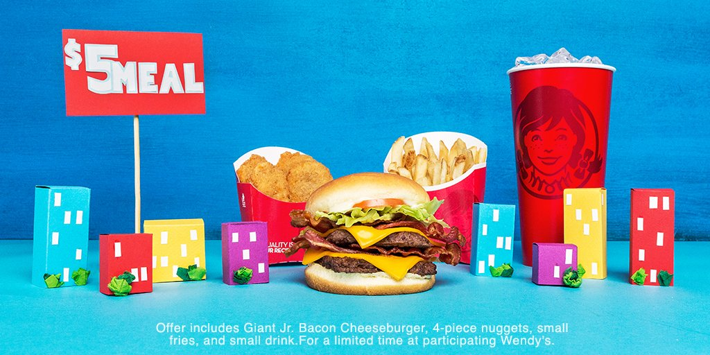 Wendy S On Twitter Springfield For Just 5 Get The Giant Jr Bacon Cheeseburger W Double The Beef Bacon And Cheese Along With Nuggets Fries And A Drink Https T Co Wuamydhshy