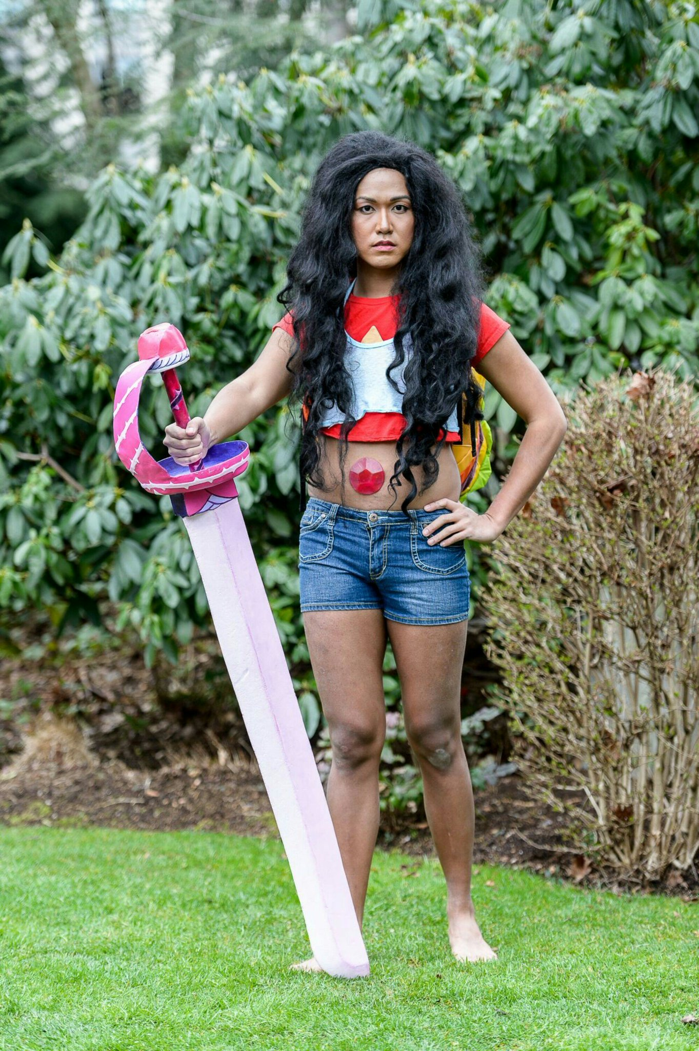 """Stevonnie! Photo by Joe Tym @emeraldcitycon @rebeccasugar #StevenUniverse #Cosplay #RoseQuartz"""