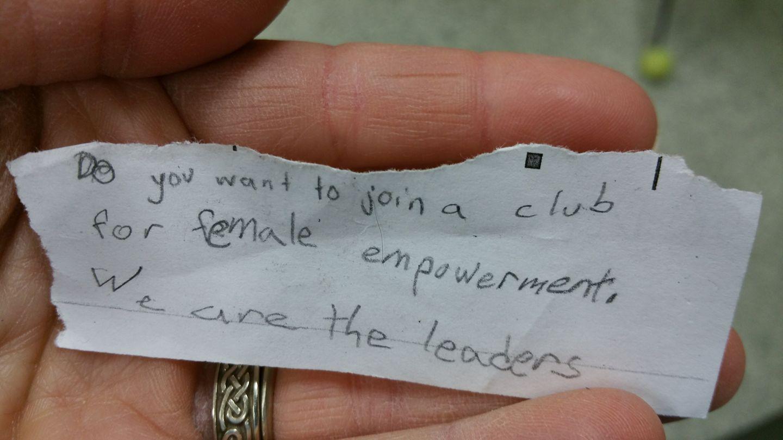 My fourth grade teacher friend found this under one of her students' desks. <3 <3 <3 https://t.co/7NSxIa6ujn