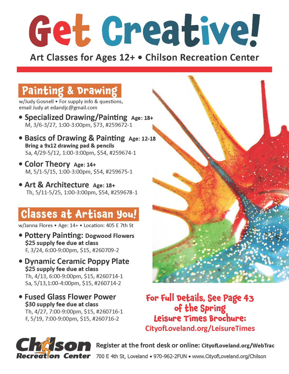 Get creative check out our spring art classes enroll at http