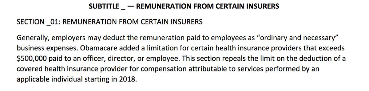 House draft ACA replacement bill includes sweetener for healthcare CEOs, allowing deduction of pay above $500,000/yr
