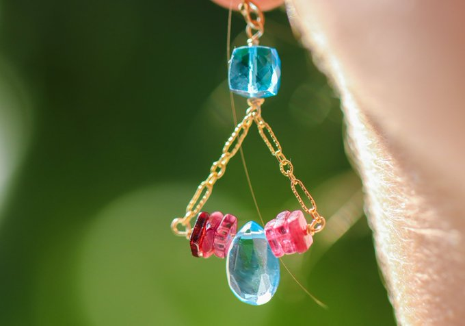 Blue Topaz Earring Colorful Gemstone Earrings November Birthstone Blue Earring Gold Filled Drop Earrings Small Earring Gift For Her