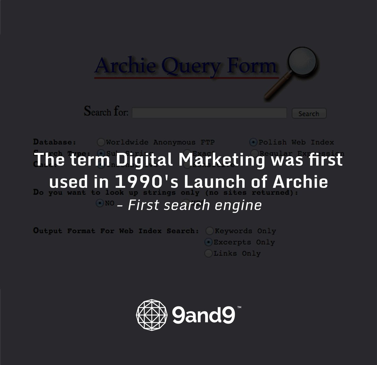 The term #DigitalMarketing was first used in 1990's Launch of 'Archie' - First #SearchEngine