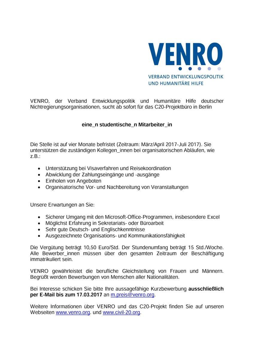 Venro On Twitter Für Das Civil20 Projektbüro Sucht Venro Ab