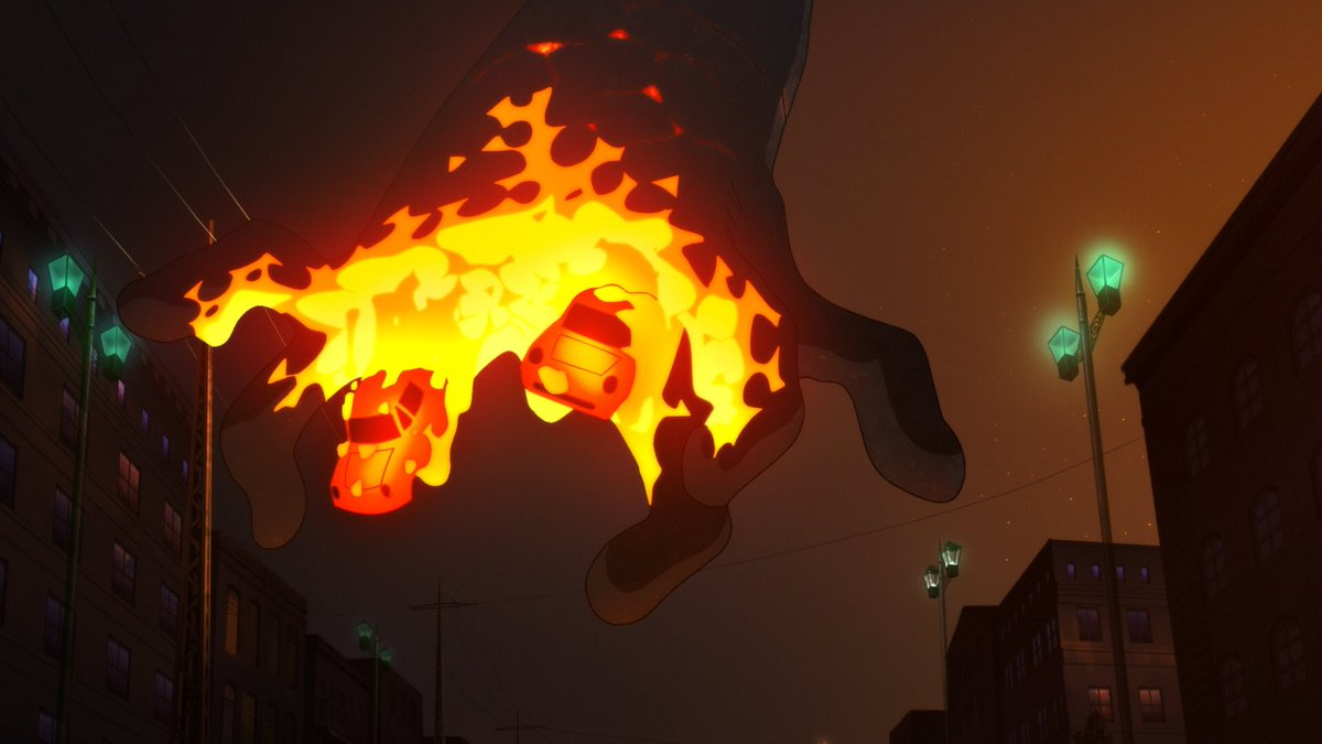 映画「#ひるね姫」では、なんと「#電脳コイル」を手掛けた #磯光雄 監督が原画を担当されています! 立体感・質感にあふれた爆発エフェクトなど、特徴的な作画を手掛ける磯監督は、日本だけでなく、世界中のアニメファンを魅了しています👀‼✨