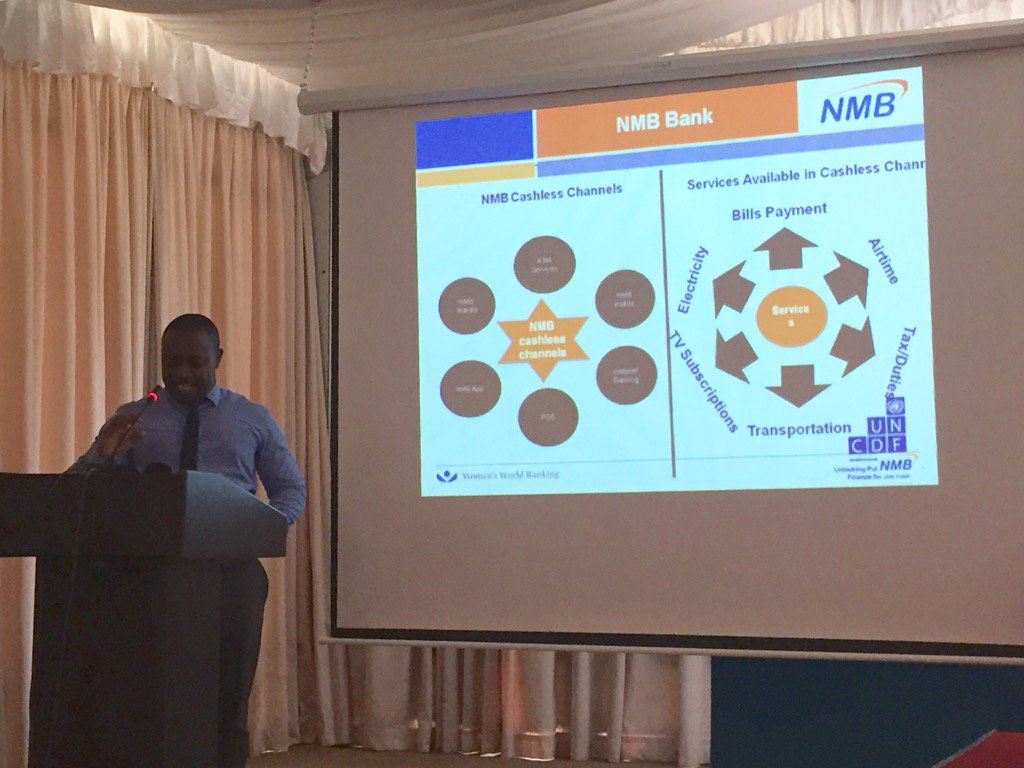 #MLEWK2017 NMB TZ shares its multiple branchless channels:700 agents, ATMs & mobile banking for 1.8 mm users. https://t.co/tfzGlPDkLn
