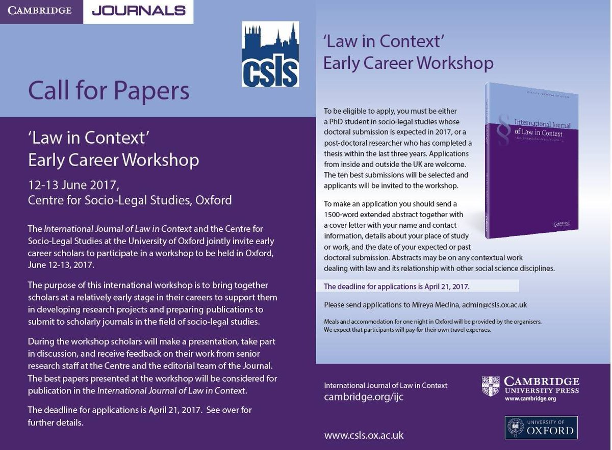 oxford csls oxfordcsls twitter call for papers deadline 21 law ox ac uk news 2017 03 07 call papers law context early career workshop pic twitter com ed4jmopy90