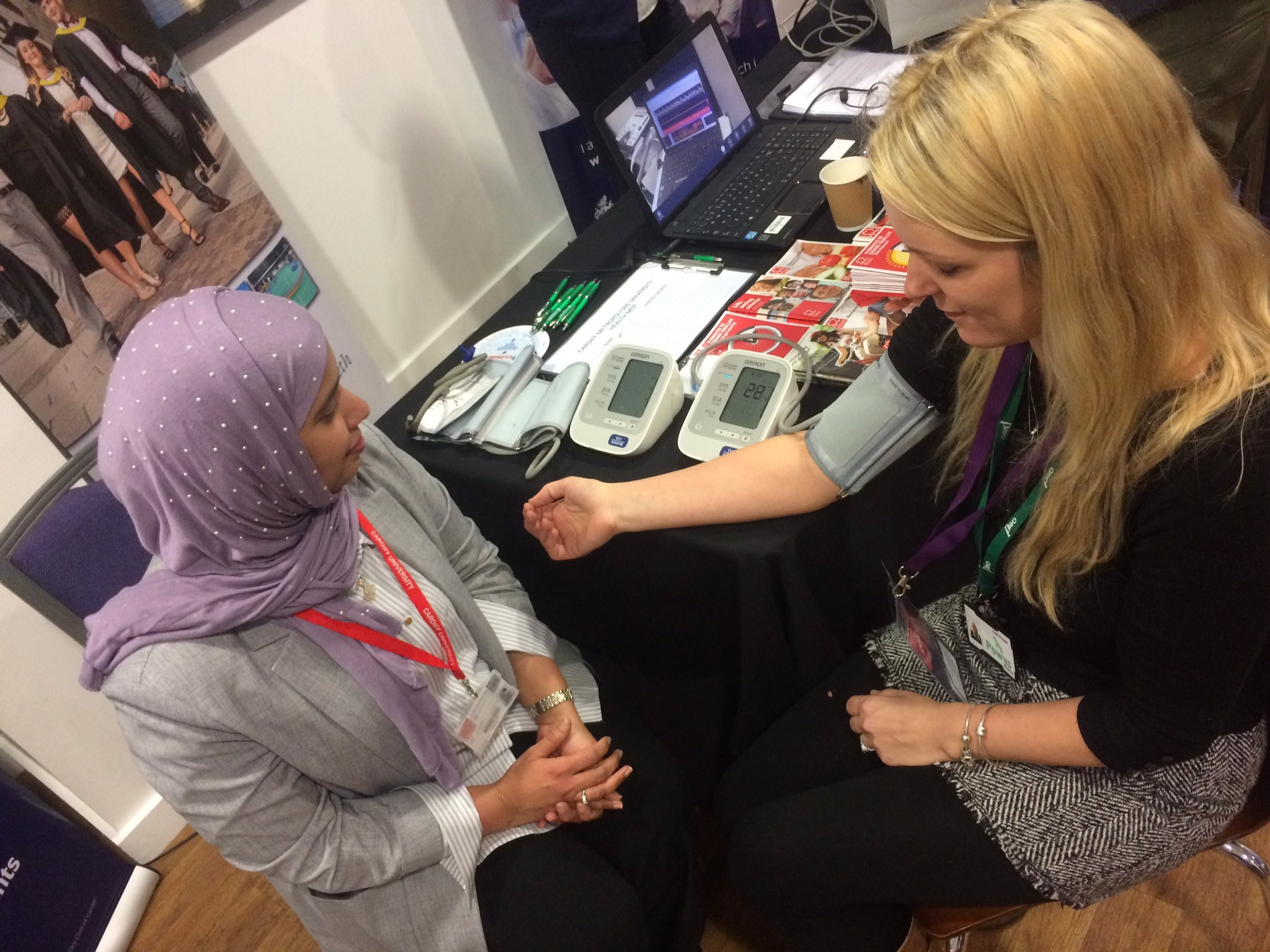 Getting my free health check from Cardiff School of Health Sciences #gofod3 @PAVOtweets https://t.co/ioAEjMW73L