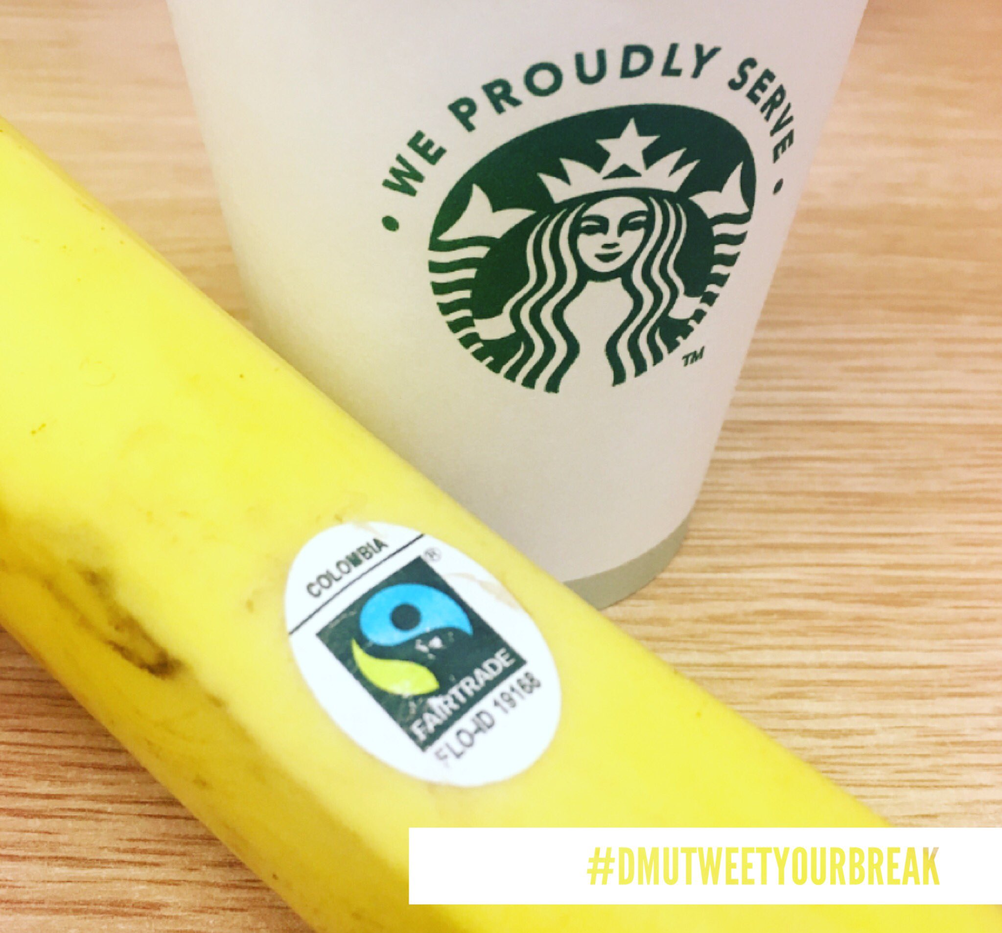 Great start to our day! Fairtrade coffee and a Fairtrade banana #dmutweetyourbreak #fairtradefortnight https://t.co/njg1A4brZE