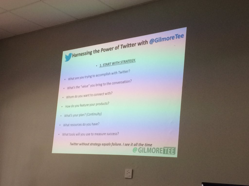 Harnessing the power of @twitter starting with strategy... its just 140 characters #jumpstartbyo think about it @gilmoretee https://t.co/aRg0QNz6kB