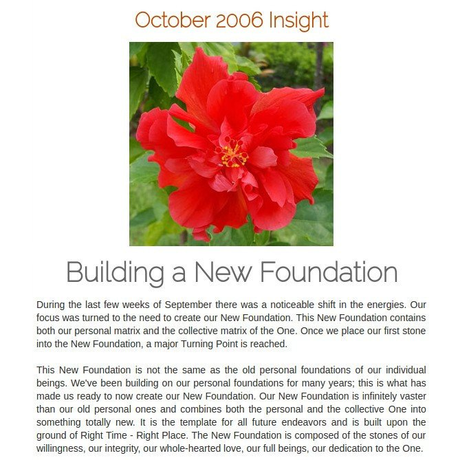 #Spiritual888 Oct2006 Insight #Building #NewFoundation #Foundation contains our #personalmatrix &amp; #collectivematrix   https:// spiritual888.jimdo.com/insight/2006/  &nbsp;  <br>http://pic.twitter.com/vI3Mgzy8c3