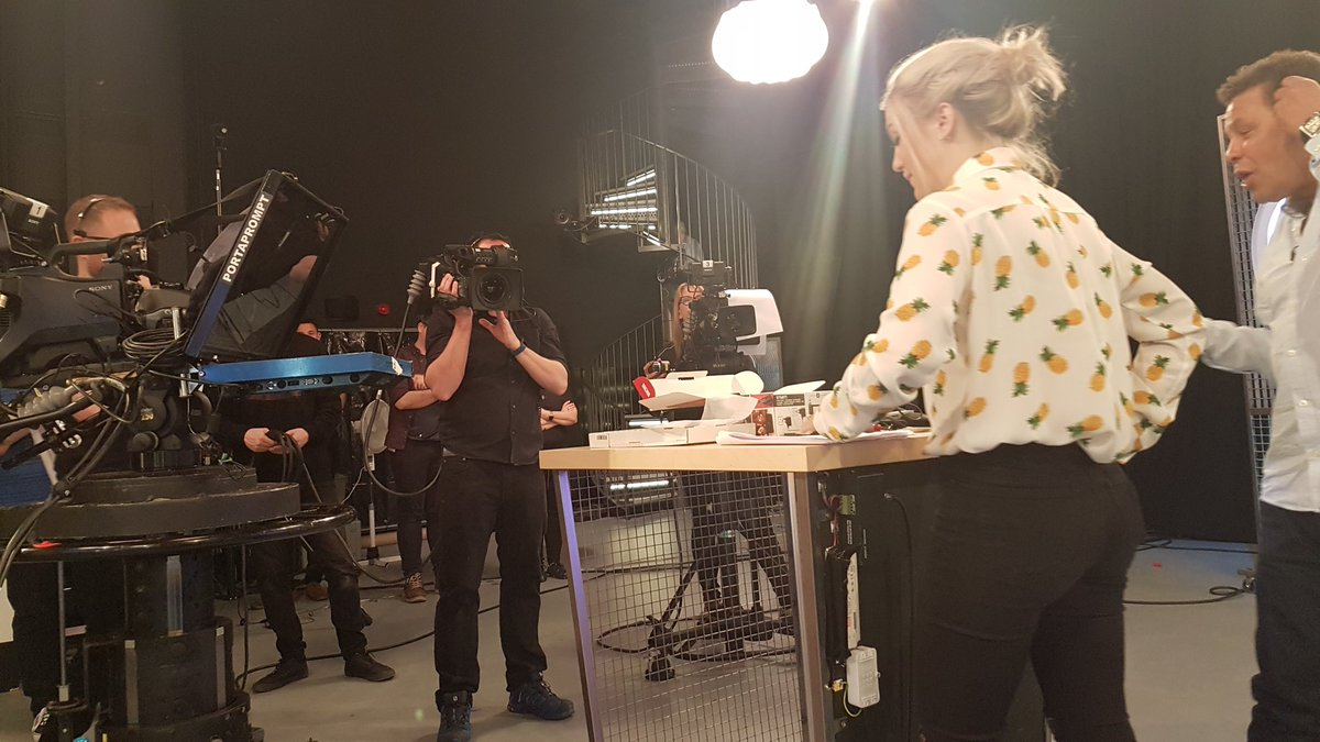 Lights, camera.... @TheGadgetShow rehearsal begins. @GeorgieBarrat and @CCfunkandsoul getting their hands dirty. https://t.co/CQ3faUtTEw