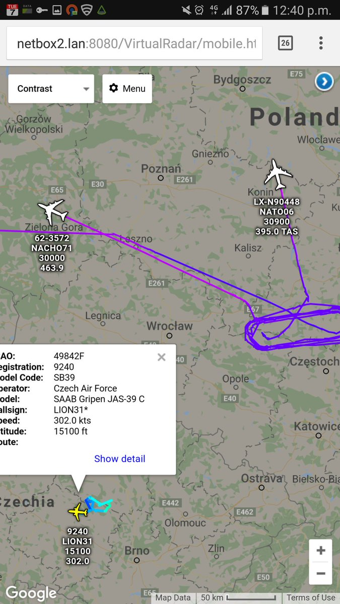 USAF KC135 leaving the scene over Poland after refuelling a NATO E3 Sentry AWACS