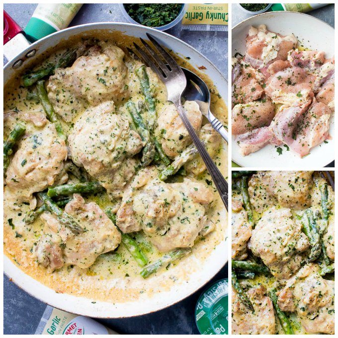 Creamy Garlic Basil Chicken with Asparagus + $50 Kroger Gift Card Giveaway