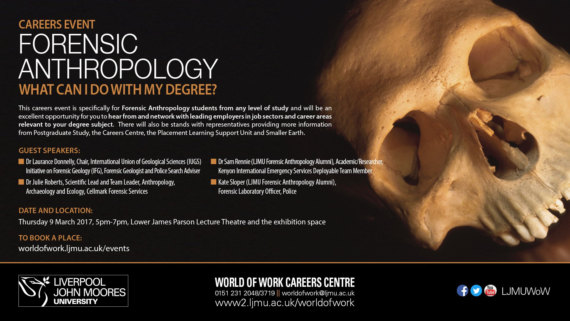 Ljmu Careers Team On Twitter Forensic Anthropology What Can I Do With My Degree Thu 9 Mar 5 7 James Parsons Building Https T Co 1yhgxhp5an Https T Co Omg2pnmnie