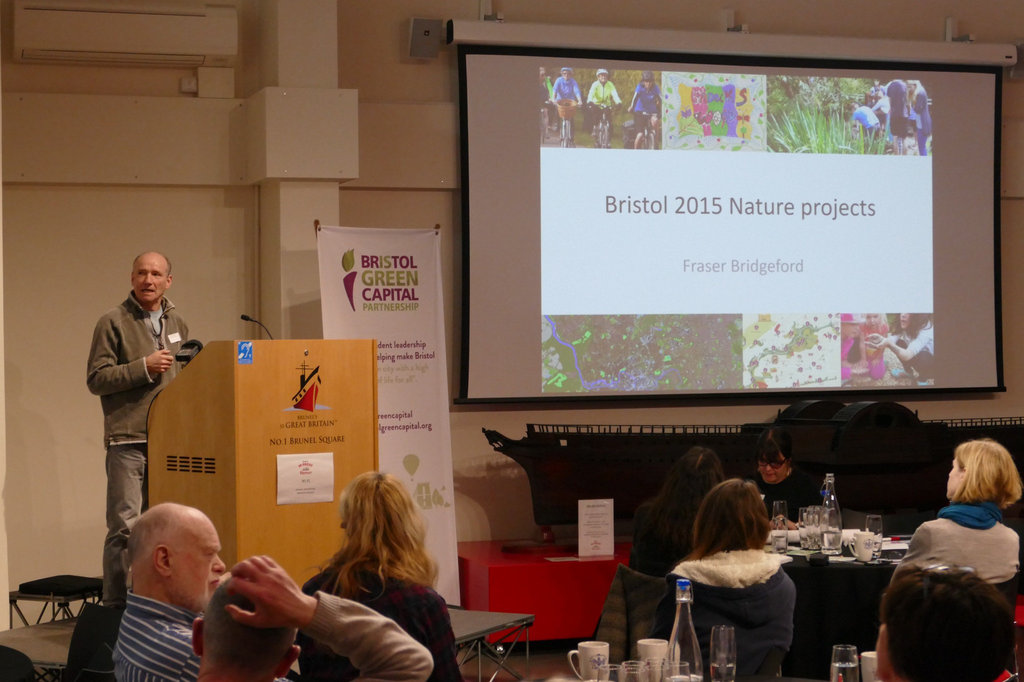 Fraser Bridgeford demonstrating some of the positive impact to #nature projects from Bristol's Green Capital Year in 2015. #BGCPGathering https://t.co/50ZvjVPo5X
