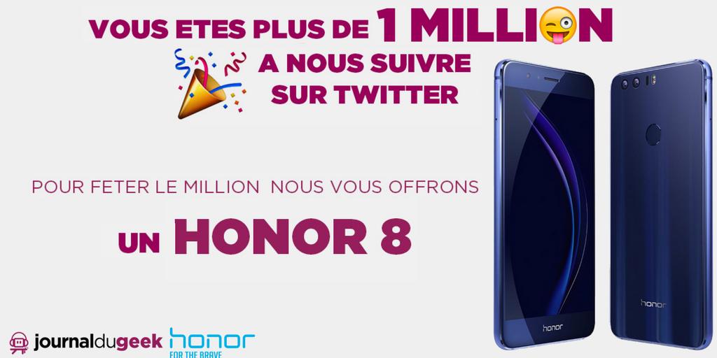 🎉 [CONCOURS 1 MILLION]  Follow  +  et RT pour tenter de gagner 1  pour fêter le million #Honor8de followers !