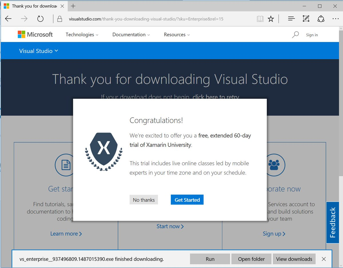 Download Visual Studio 2017 by March 14, and get 60 days of Xamarin University (online training) for free! https://t.co/l26tDDauHd