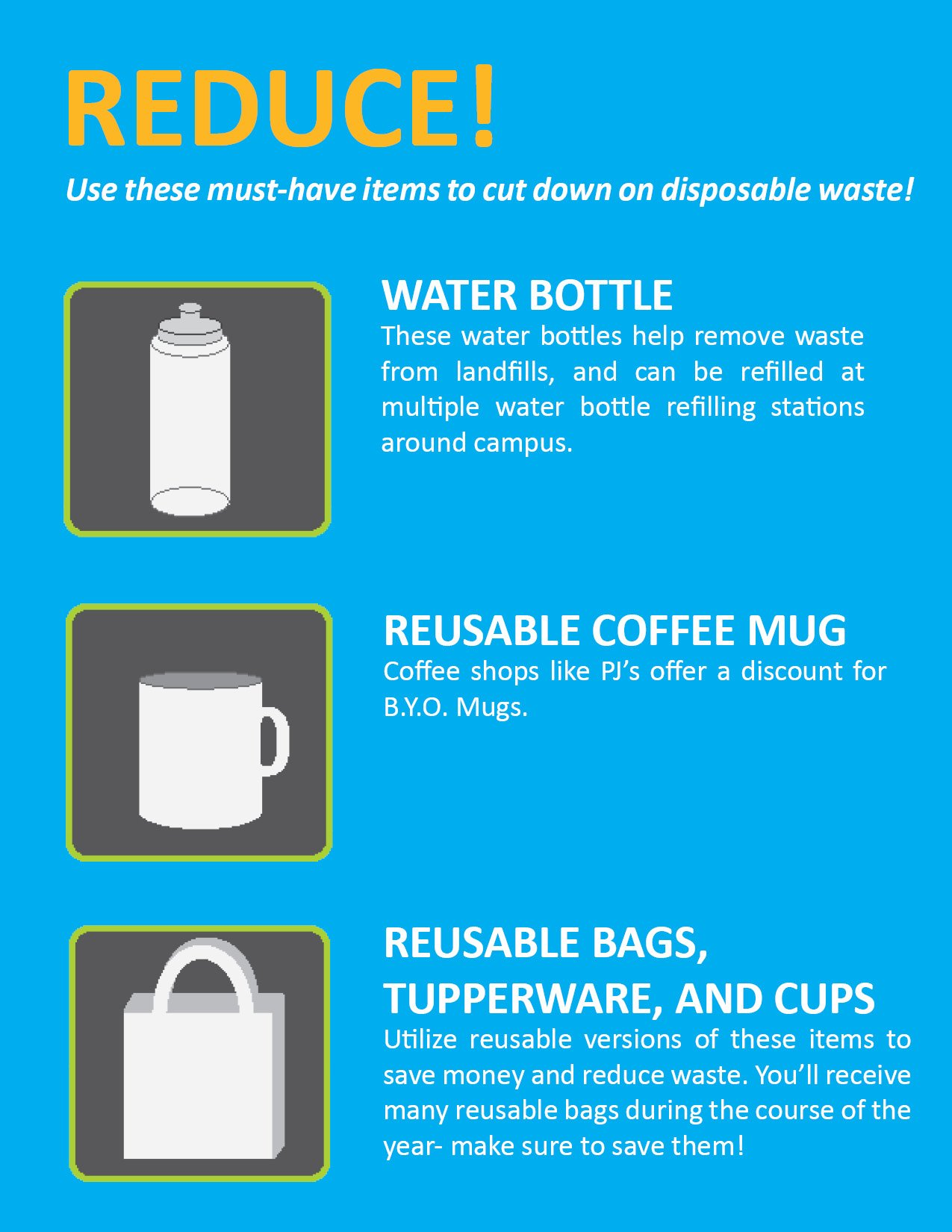 Here are some easy ways to reduce waste! @TaylorTulane post a pic of how you'll help Tulane reduce waste & win #recyclemania #tulanerecycles https://t.co/Uue6JHZwXc