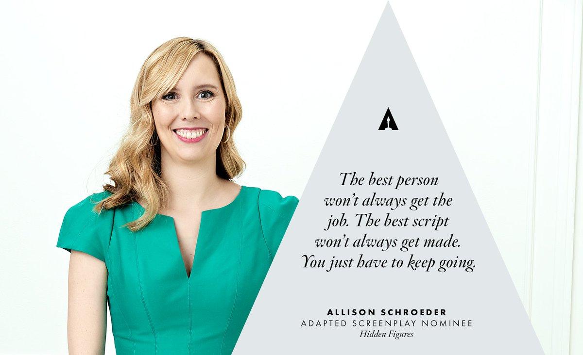 Screenwriter Allison Schroeder on perseverance https://t.co/ryQ1RU7tyF