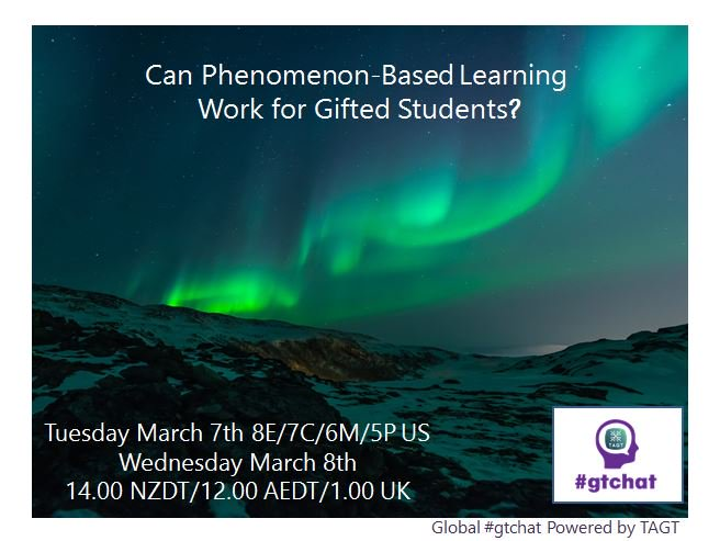"T-10 till #gtchat - Today we'll be chatting about ""Phenomenon-Based Learning"" https://t.co/Oeff5Uwu2u"