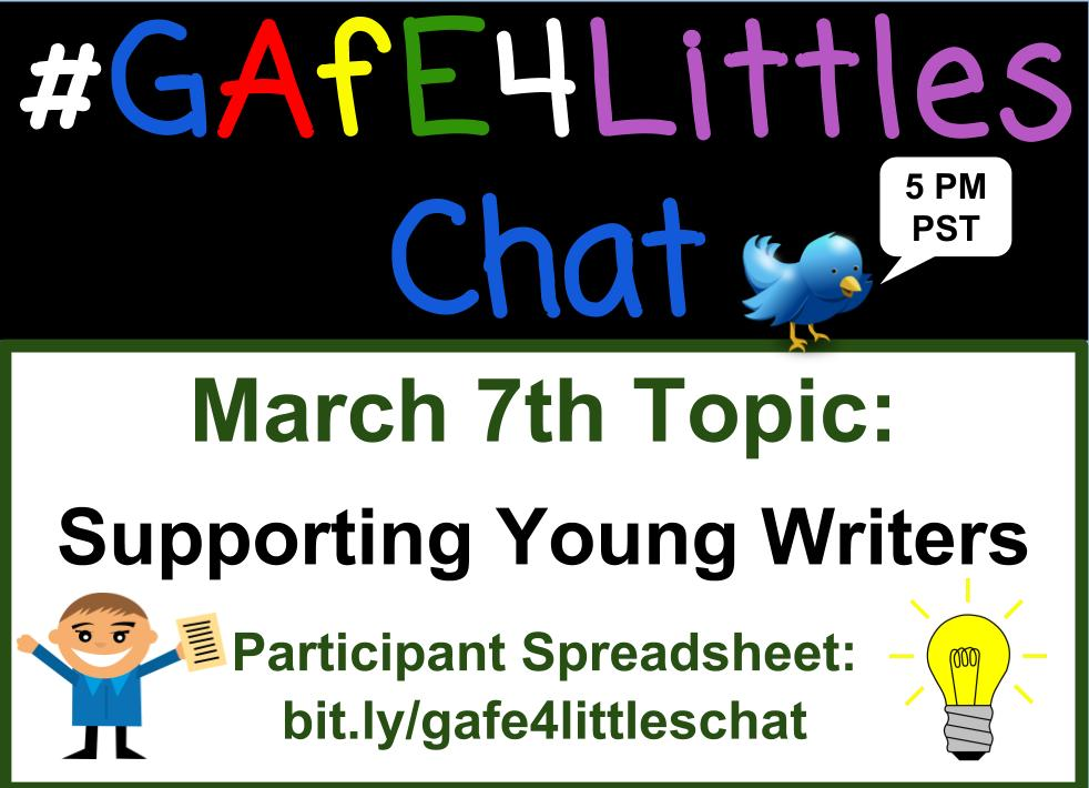 Welcome to the #gafe4littles chat Pinto here - kinder T from CA! Introduce yourself! Share your thoughts on writing in the primary classroom https://t.co/0QfkG3XSYY