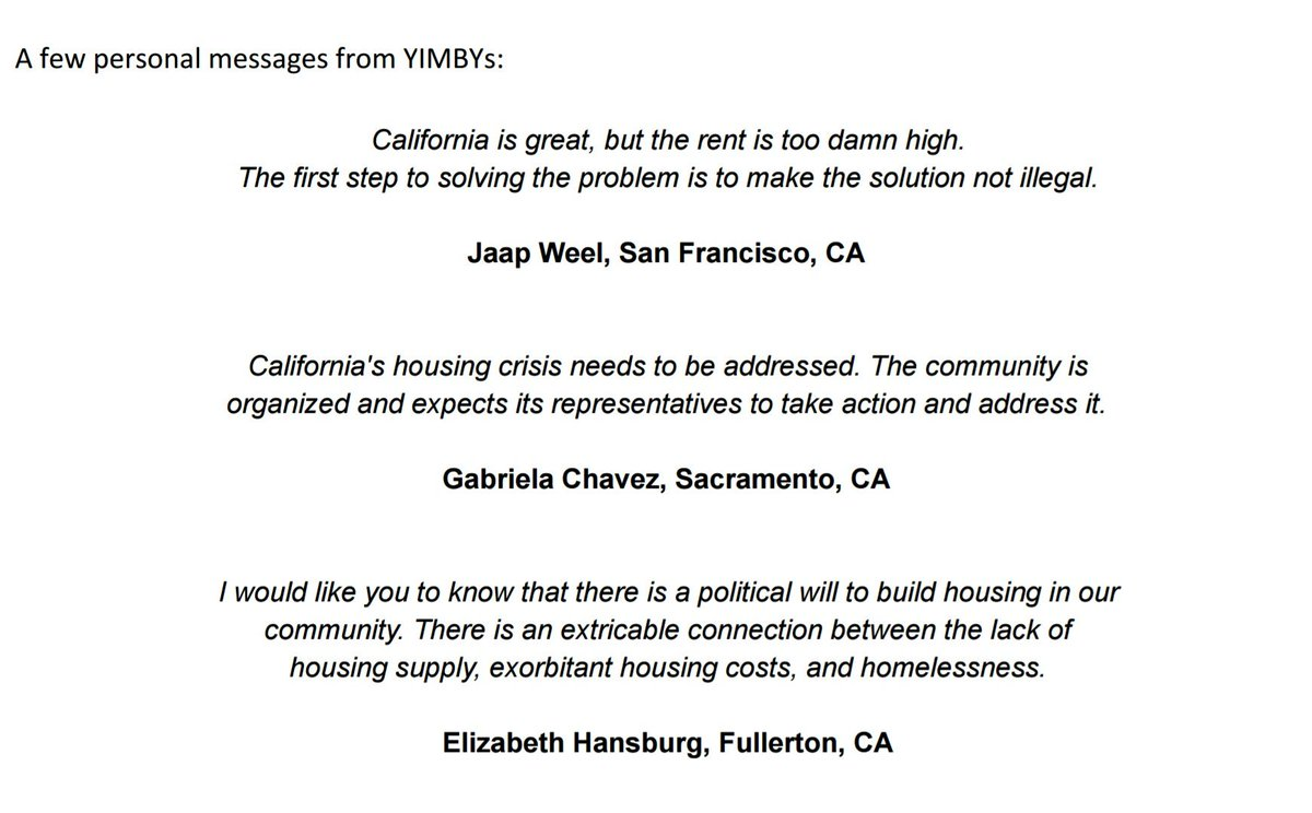 Yimby Action On Twitter Quotes From Yimbys In Sacramento