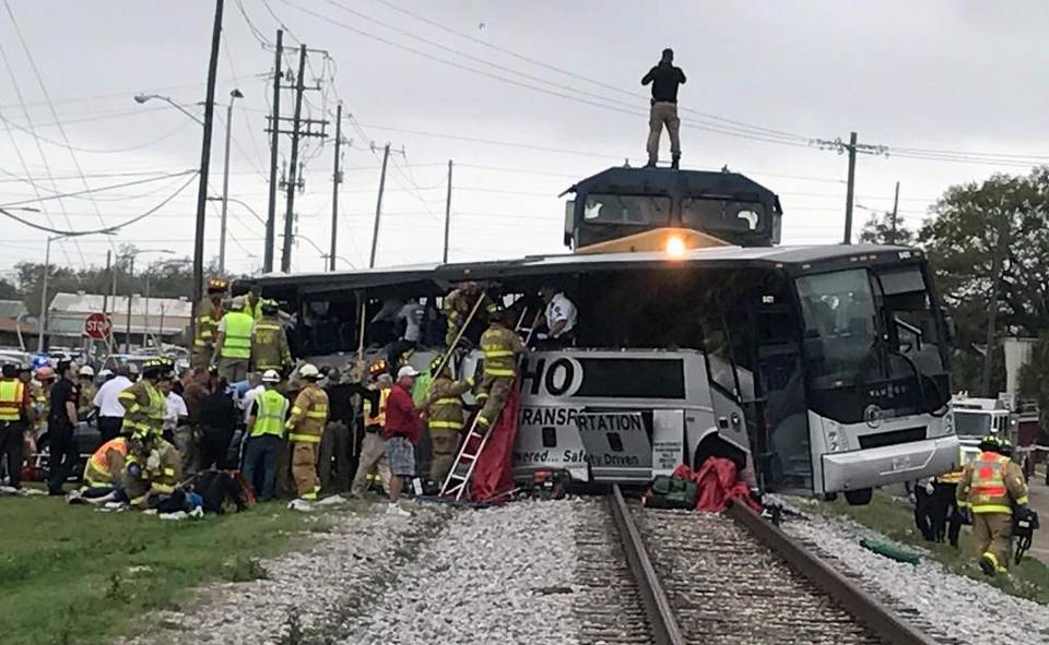 Thumbnail for At least 4 dead, dozens injured after charter bus from Austin hit by train in Mississippi