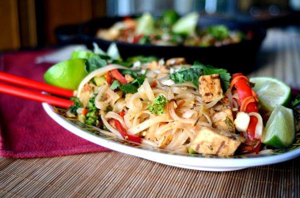 Vegan Chicken & Vegetable Pad Thai Rice Noodles and Silom Thai Market & Vegan Meat GALORE!