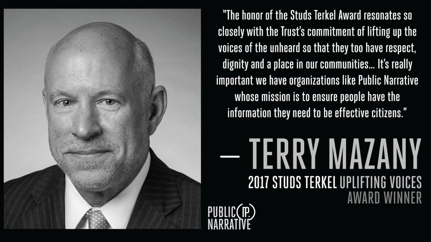 The annual Studs Terkel Awards honor those who help ensure that the stories of Chicago's communities are told, like @ChiTrust's Terry Mazany https://t.co/1SOK4mda63
