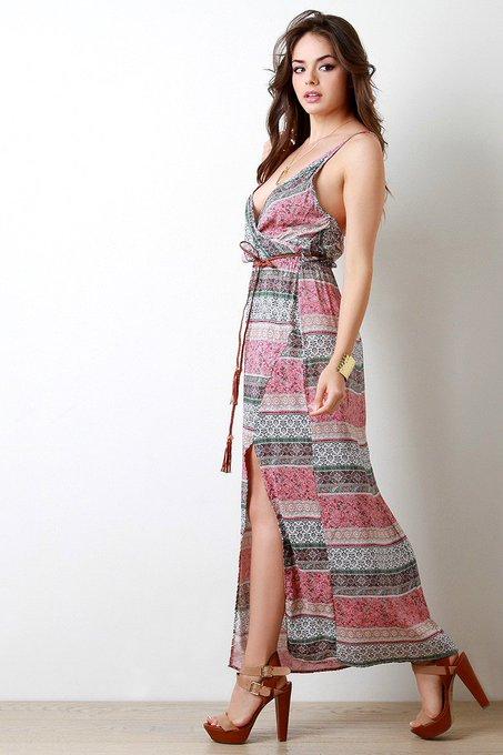 Boho Print Surplice V-Neck Maxi Dress