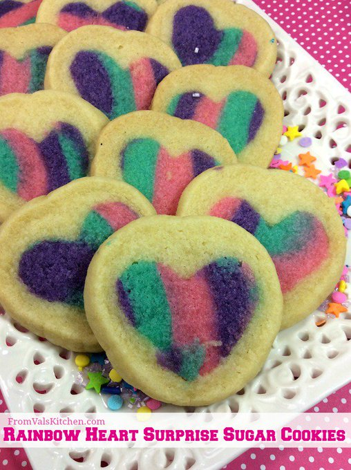 Rainbow Heart Surprise Sugar Cookies #Recipe