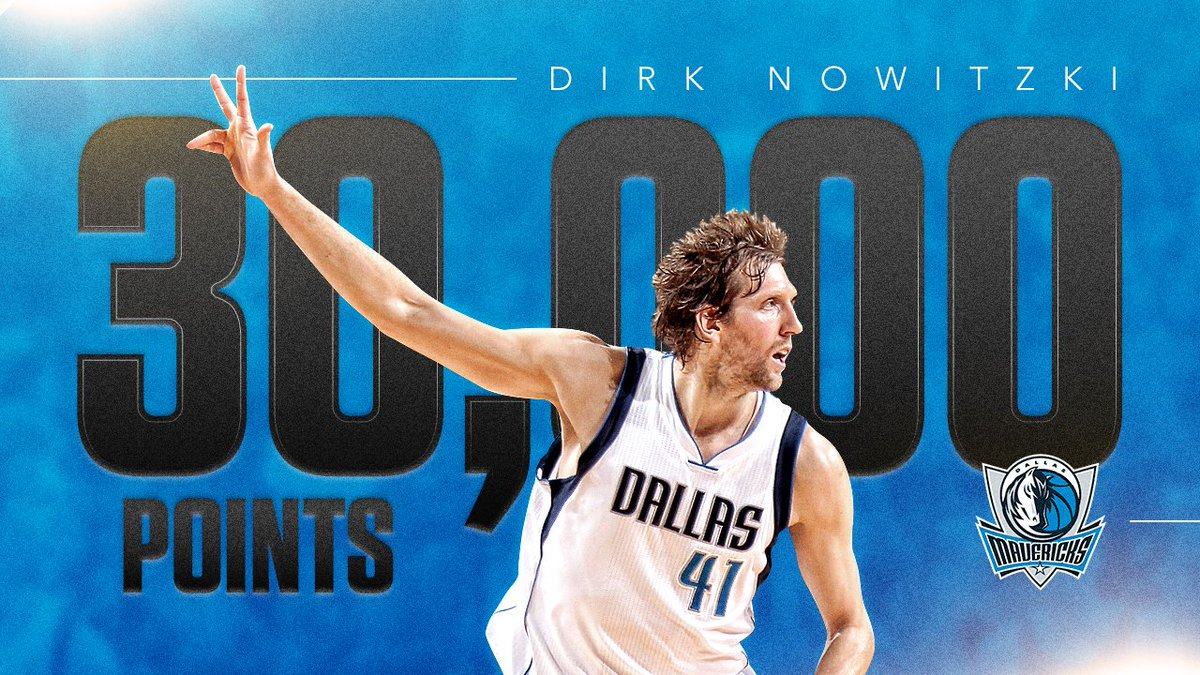 Dirk Nowitzki (@swish41) becomes the sixth player in NBA history to reach 30,000 points! https://t.co/rWpaFarxcB