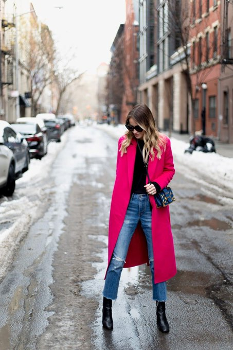 Pink Coat in New York