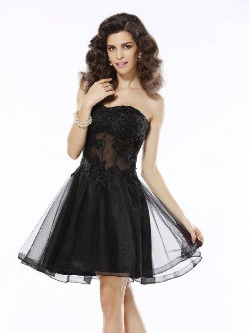 45148c4e9a8  Princess  Sweetheart Applique Sleeveless Short Satin  Homecoming  Dresses   homecomingdresses ...