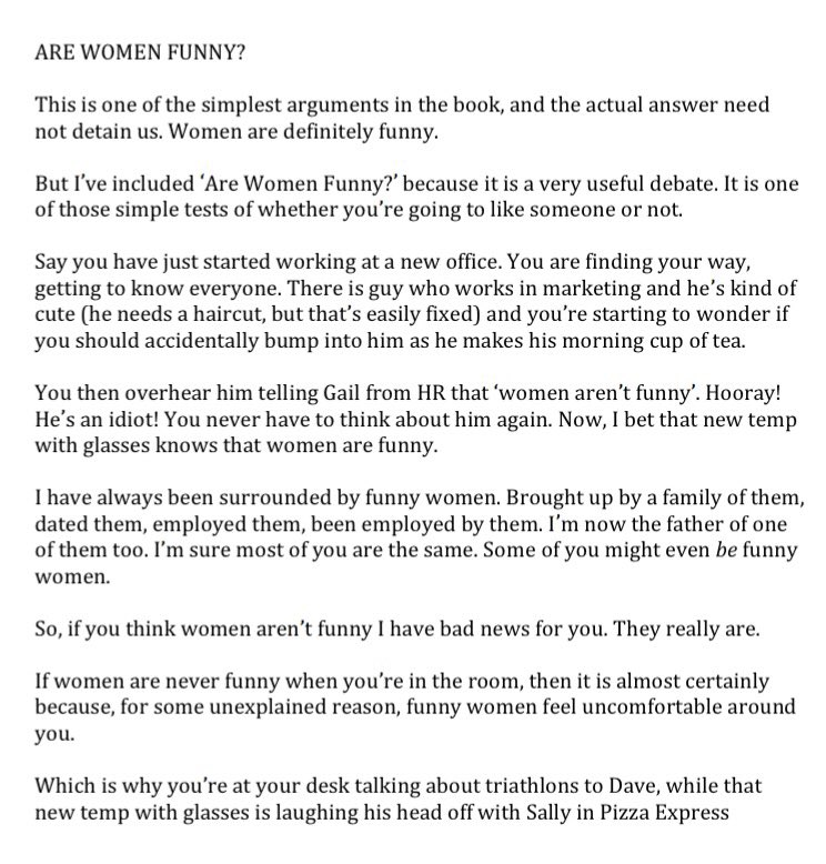 Richard Osman On Twitter For Internationalwomensday Here S My Piece Are Women Funny From The Most Pointless Arguments In World