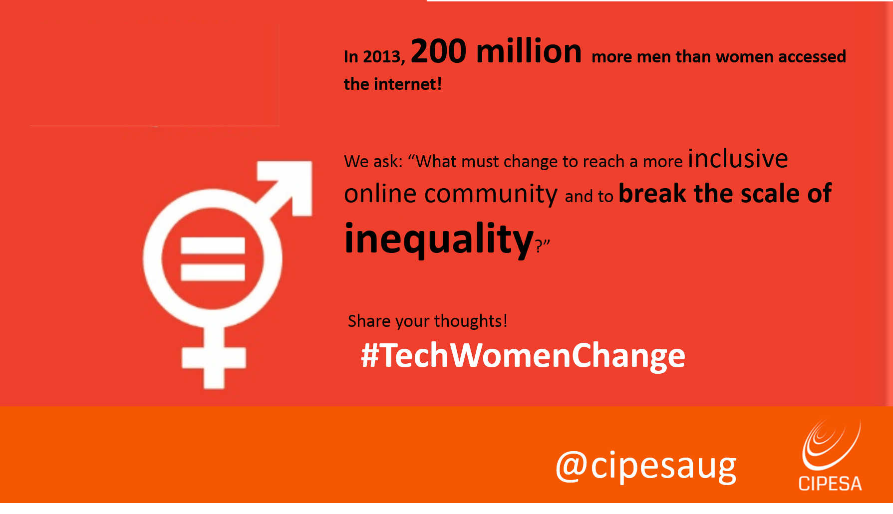 In 2013, 200 million more men than women accessed the internet! Share your thoughts about this:#WomenTechChange | #iwd #BeBoldForChange https://t.co/INnHACaDzn
