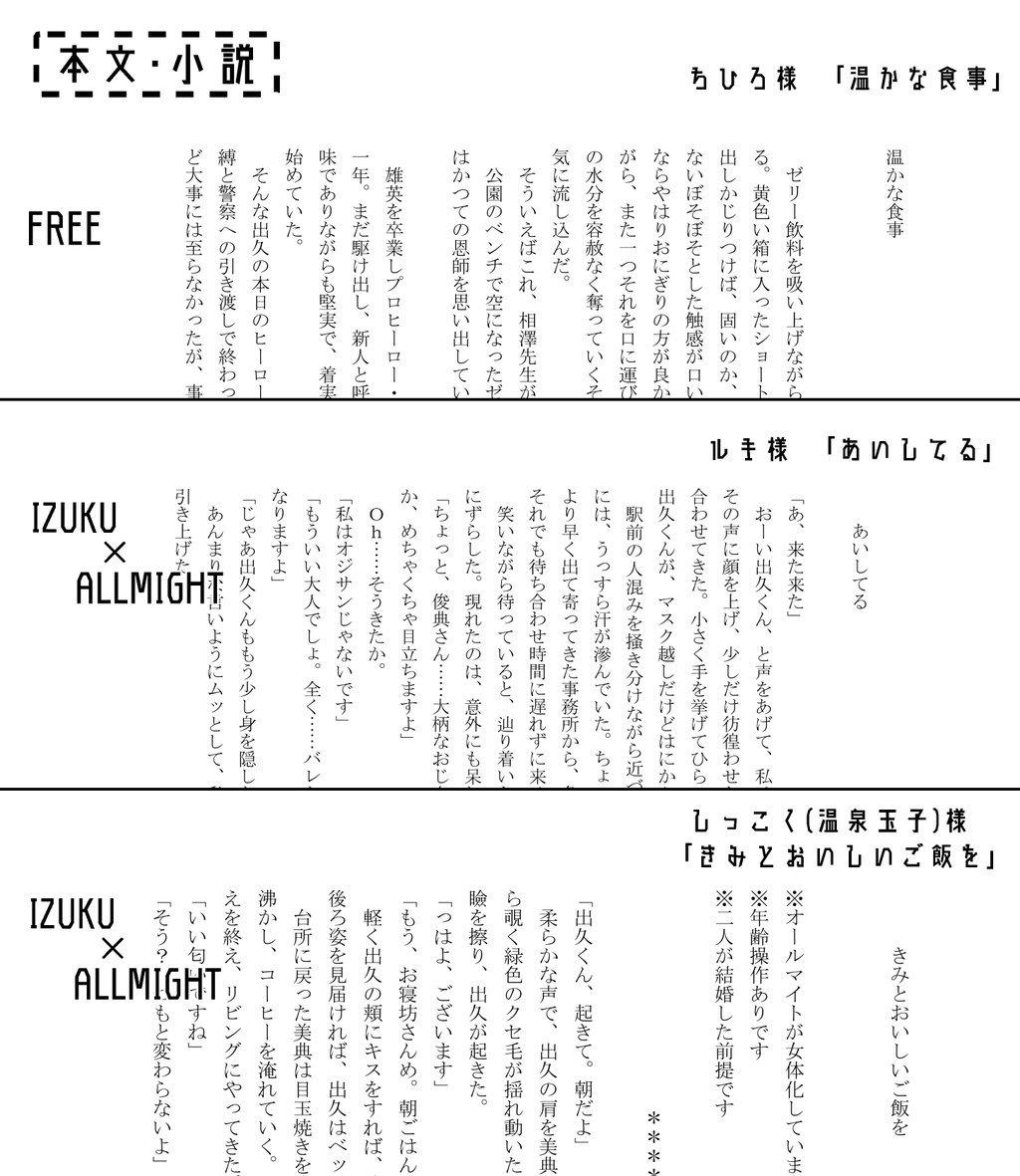 【サンプル公開】 本文のサンプルの一部を公開致します。詳しいサンプルはpixivにて後程公開致します。カラー口絵2名/漫画5名/小説3名