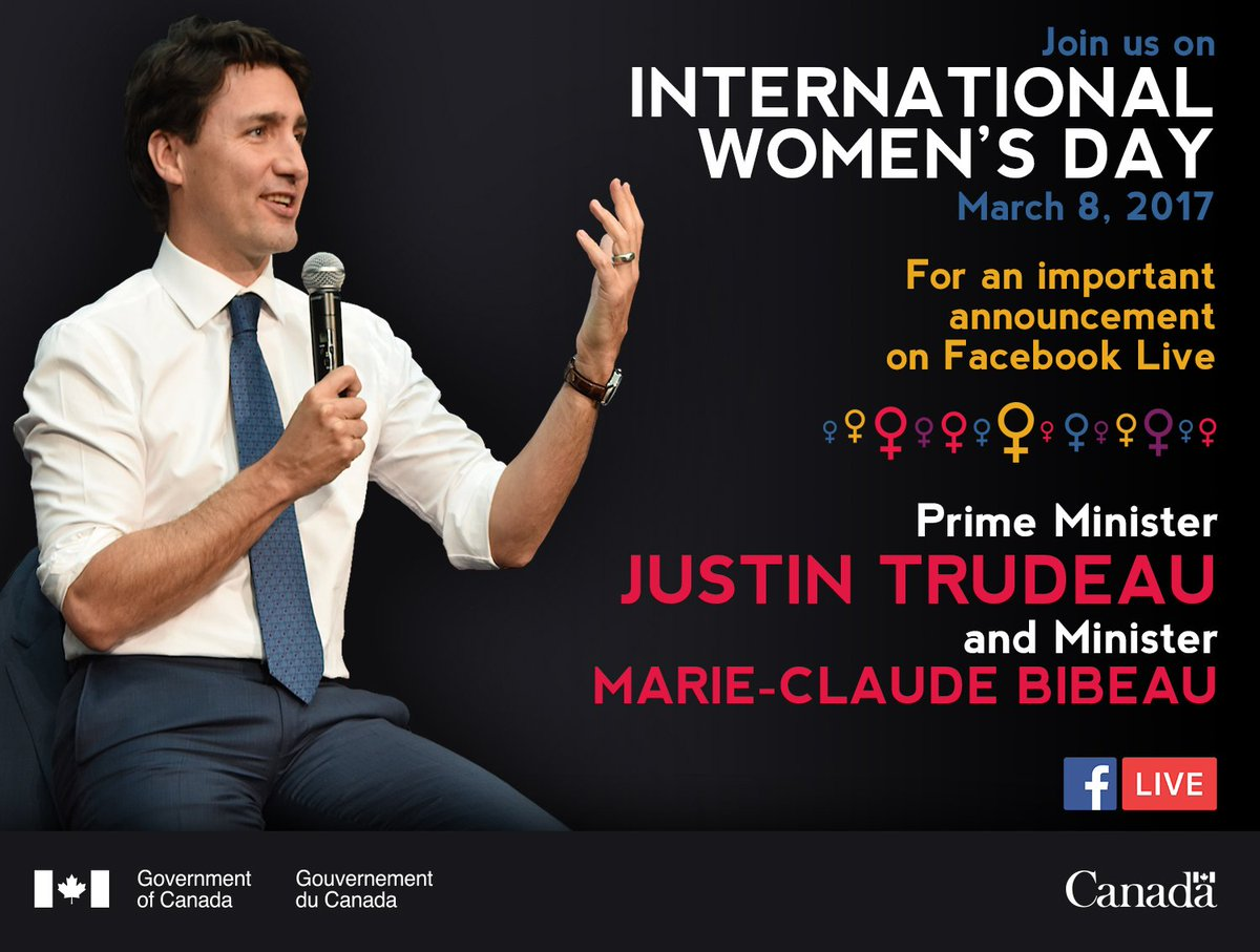 Live in 20 minutes on @facebook! @CanadianPM panel event #IWD2017 https://t.co/OkvG9eY20g https://t.co/AJbI3tIuFM