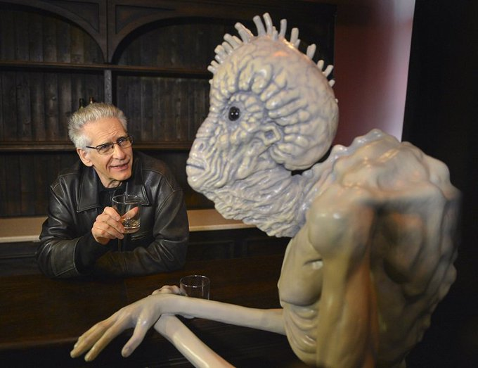 Happy birthday, David Cronenberg! Look, he\s already celebrating with an old friend.