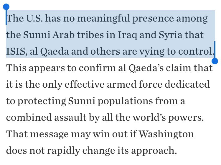 """b) That Syria's Sunni Arabs – itself too reductive a characterization – are reduced to """"tribes"""" is a sign of what an Iraq time warp this is. https://t.co/xGtc39F6DS"""
