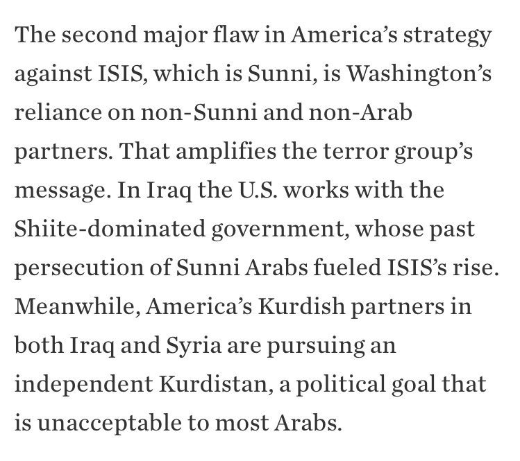There are Sunni Arabs on all sides of Syria's war – ISIS and the rebels almost exclusively, but also with the SDF and the regime. https://t.co/ZjGAnrS9yY