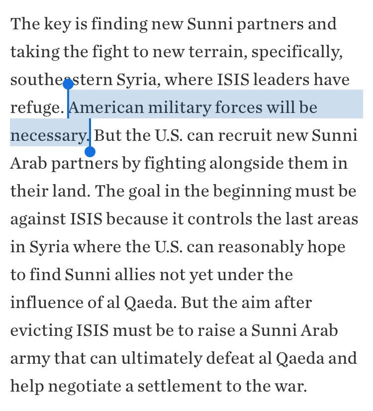 Any variation on this is Bad News Jeans and a trap. U.S. occupying forces with no defined or plausible objective equals Avoid. https://t.co/Wcdx37zLSV