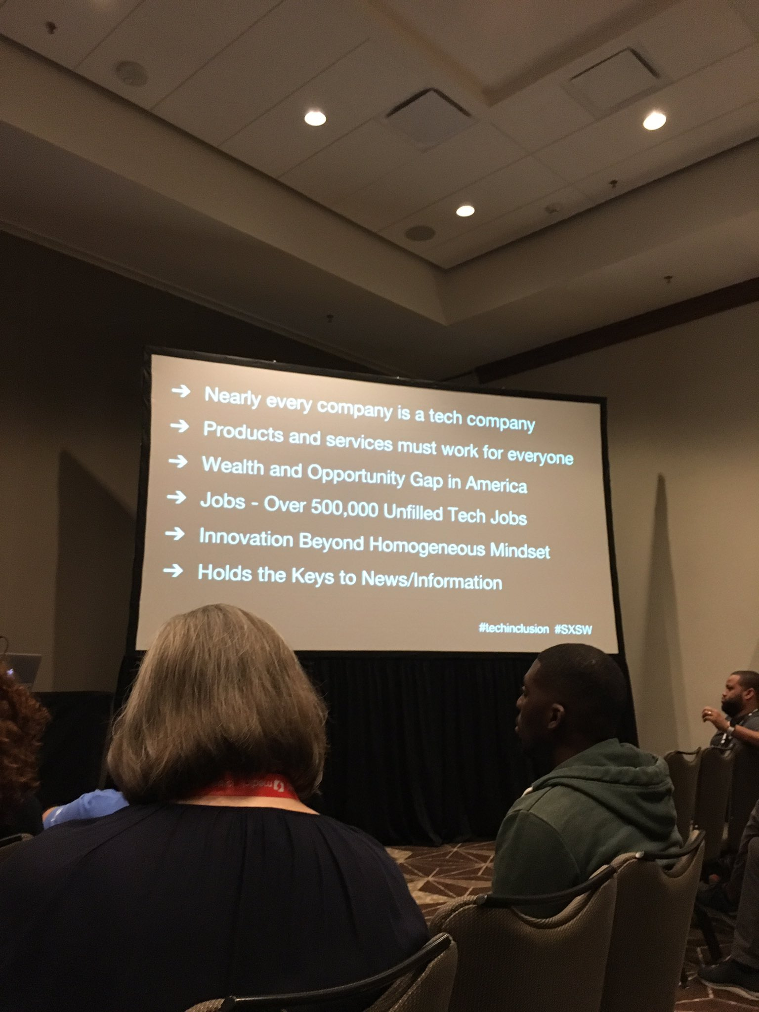 Tech has the potential to reach too many people, to be developed and implemented by a homogenous group. #sxsw #techinclusion https://t.co/25UtoTiNOW