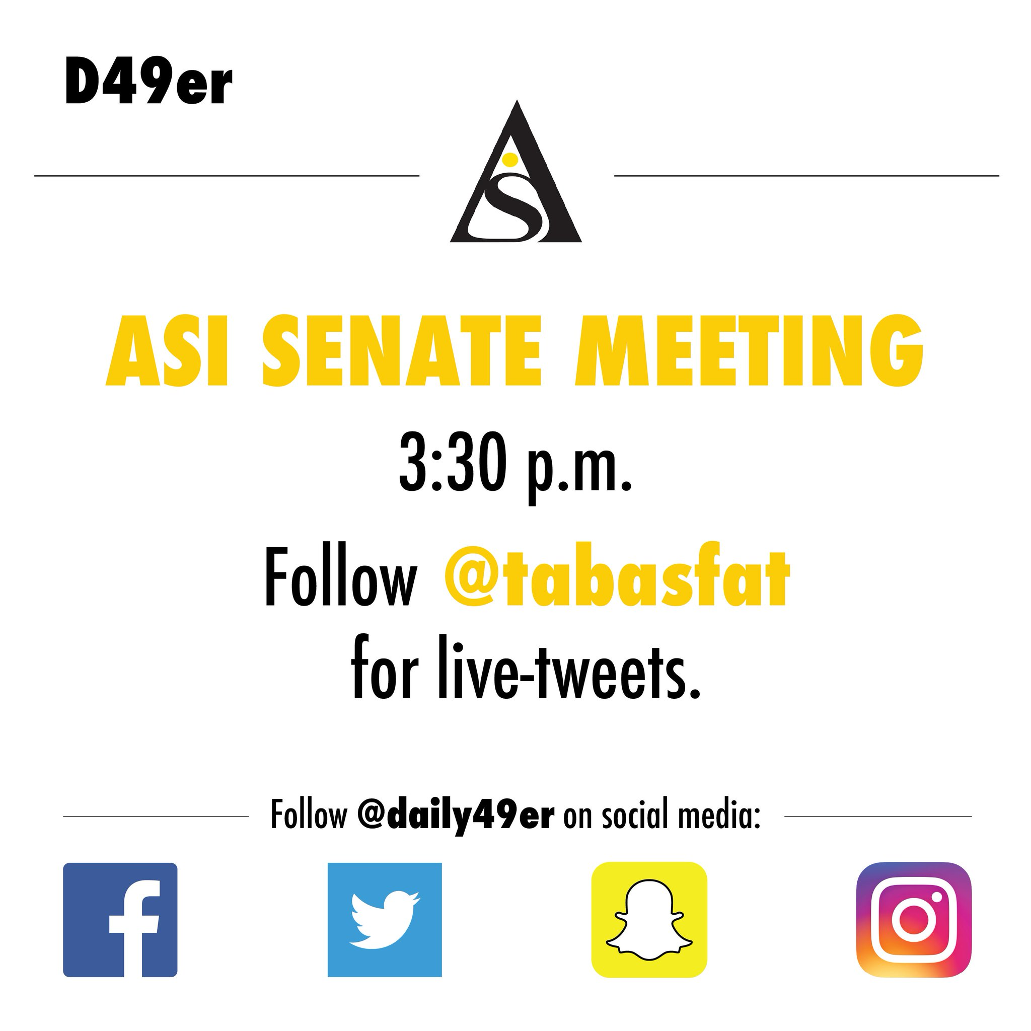 Want the latest from @CSULBASI?  Follow our writer @tabasfat today at 3:30 for live updates from their meeting. #CSULB #49erNow https://t.co/CdIVJOiUtj