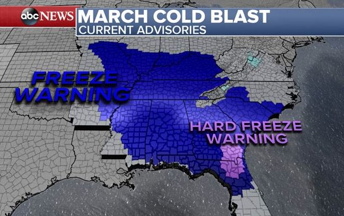 Brutal cold even for January for the East tonight.  Crop Damaging Hard...