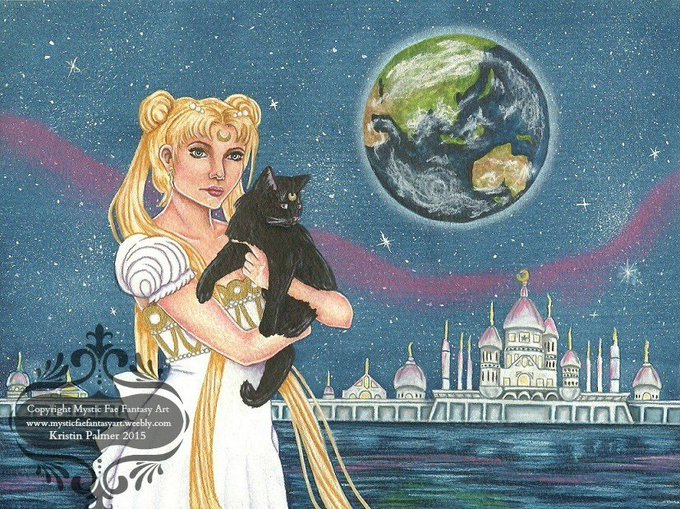 """In the name of the moon...I wish Naoko Takeuchi a happy 50th birthday!!! Artwork is my \""""Moon Princess\"""""""